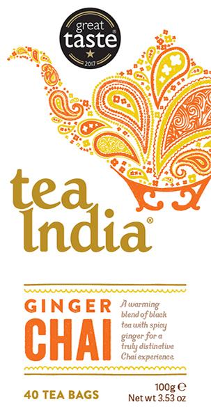 Tea India Ginger Chai Tea Bags 40s